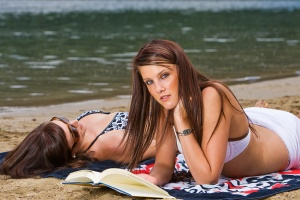 Reading and tanning at the beach